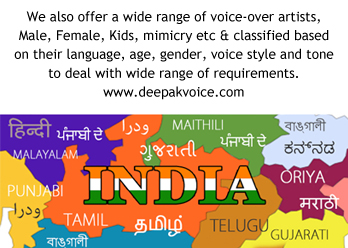 All Indian Languages Voice Artist available